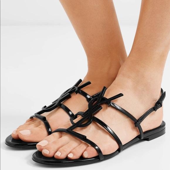Saint Laurent Shoes - New Saint Laurent Cassandra Logo Patent Sandals